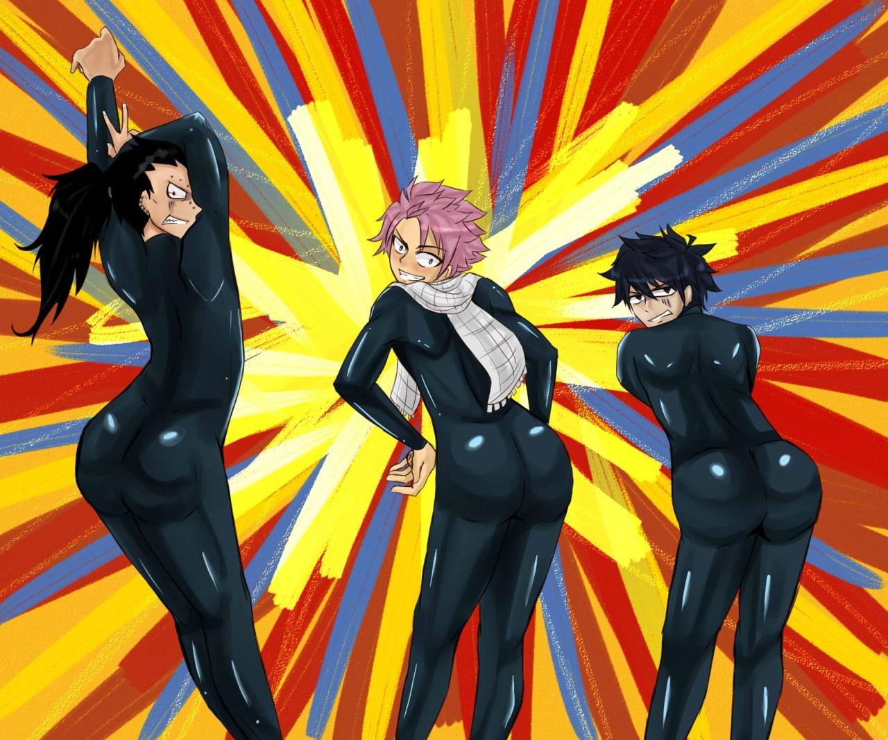 Gajeel, Natsu, & Gray as the Jiggle Butt Gang
