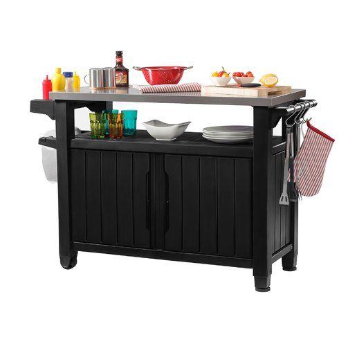 Cambron Caster Bar Serving Cart Outdoor Storage Cabinet Outdoor Kitchen Bars Patio Storage