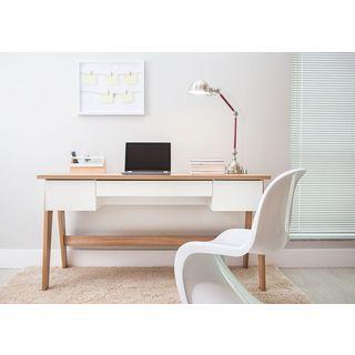 Trendline Hanover Off White 3 Drawer Home Office Desk Brown