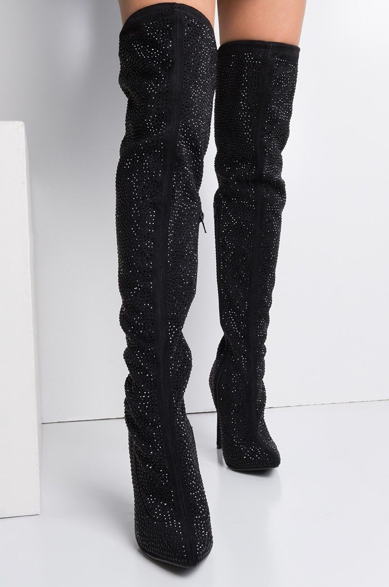 AKIRA Thigh High Zip Up Pointed Toe
