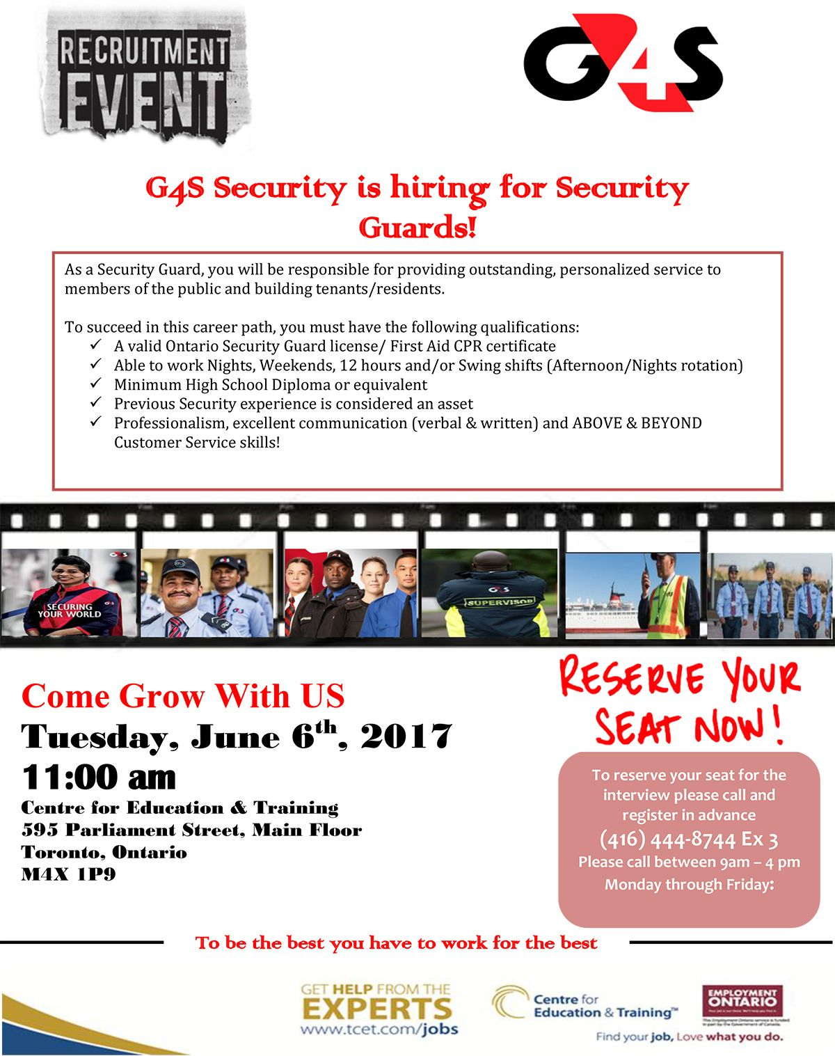 Thinking Of A Career In The Security Field Don T Miss The G4s Security Hiring Event Tomorrow Tuesday June 6 2017 Education And Training Youth Programs Career