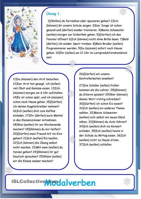 Modalverben   Modalverben, Mittelstufe und Schreiben Arbeitsblatt