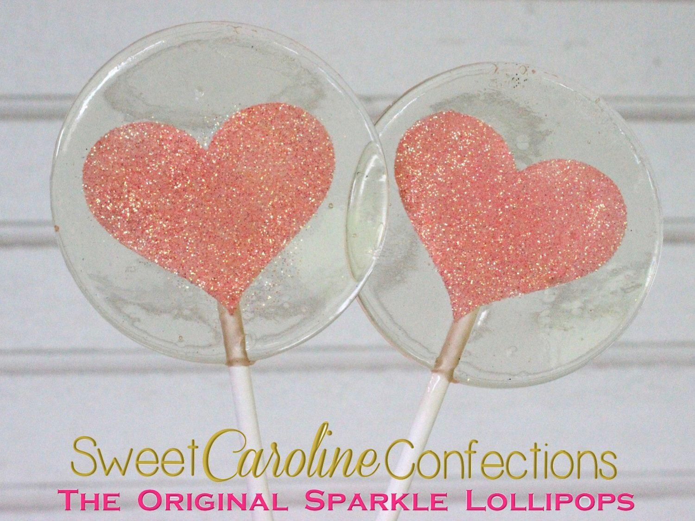 Coral Sparkle Heart Lollipops, Heart Lollipops, Coral Favors, Coral ...