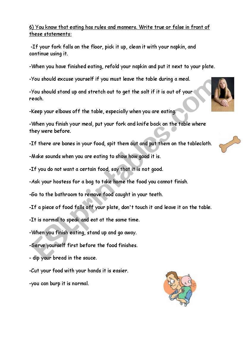 Table Manners Worksheet Avec Images