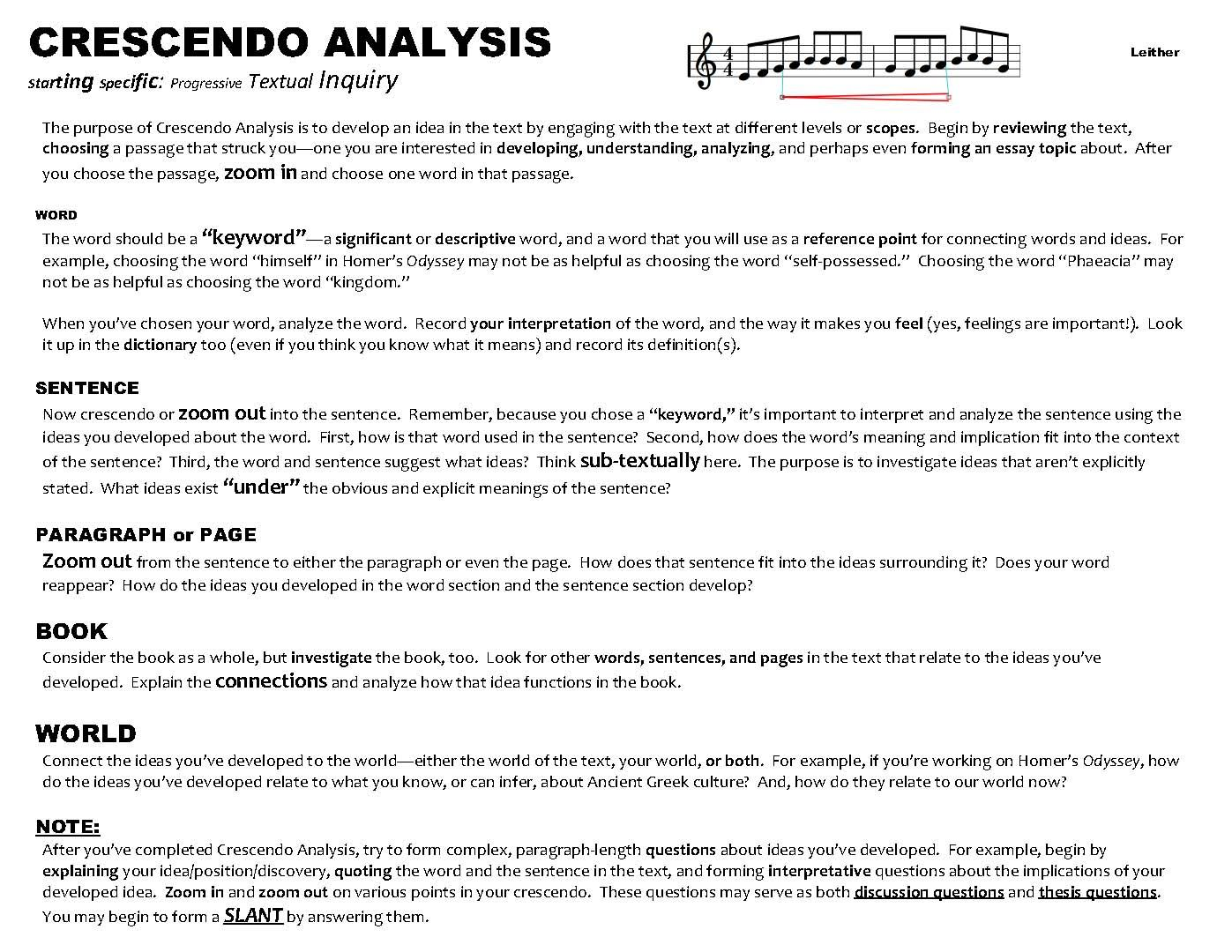 Crescendo Analysi Back From Slant Writing Essay You Want To Read More Information At Www Nicholasleither C College Topic Interpretation Example