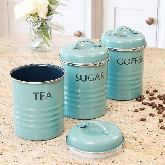 Vintage Blue Tea Coffee And Sugar Canister Setsupplied As A Set Of 3