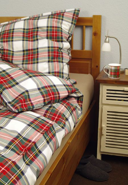 Bettwasche Scot Gordon White Garnitur 200 X 135 Cm Tartan