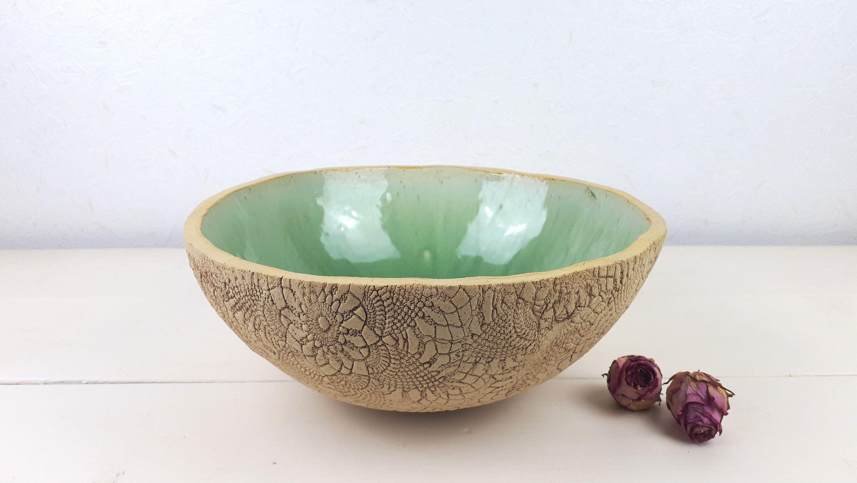 Handmade large ceramic bowl, stoneware bowl, tableware in