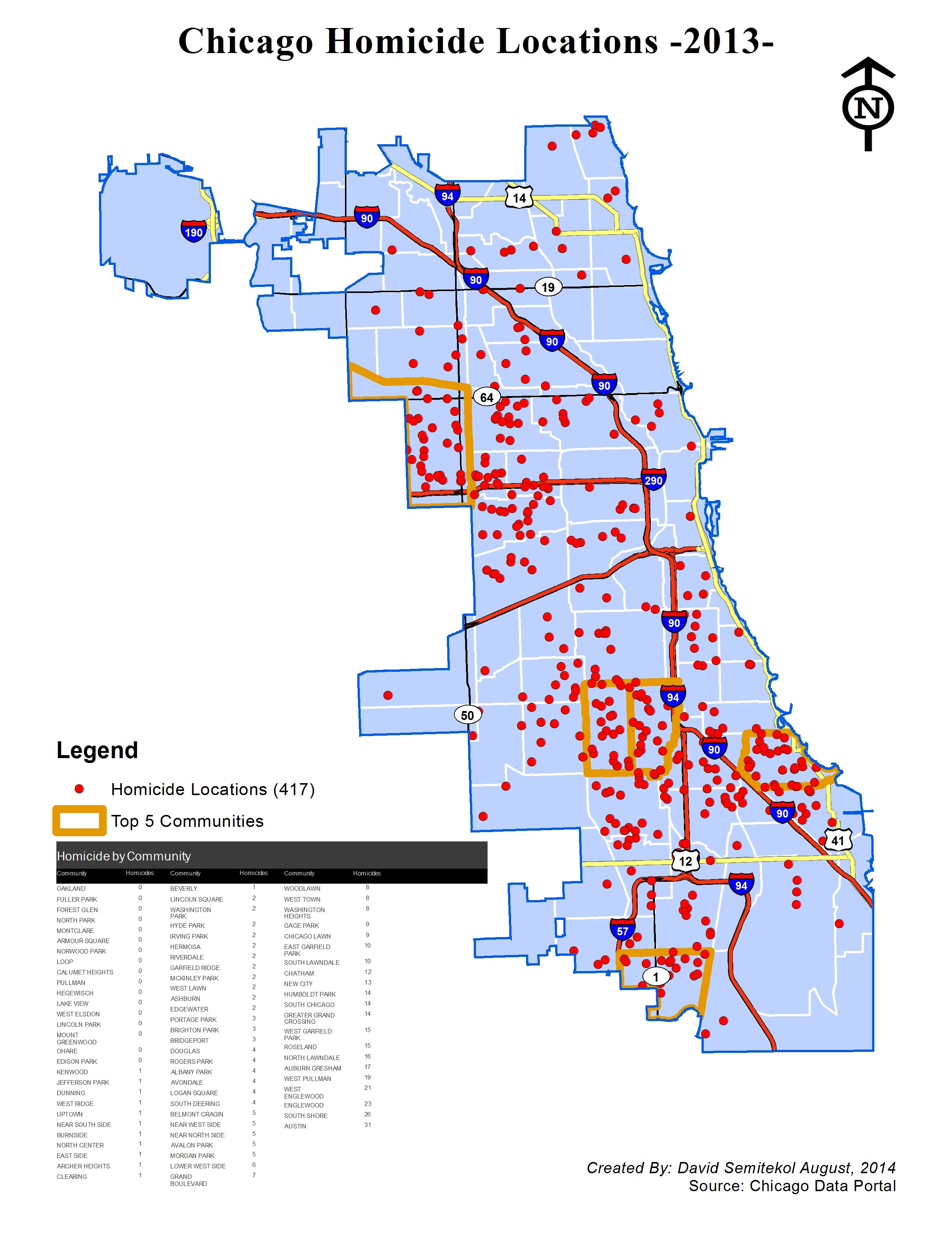 Chicago Homicide Locations in 2013 Maps Pinterest Chicago
