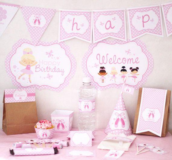 Pink Ballerina Birthday DIY Printable Party by stockberrystudio