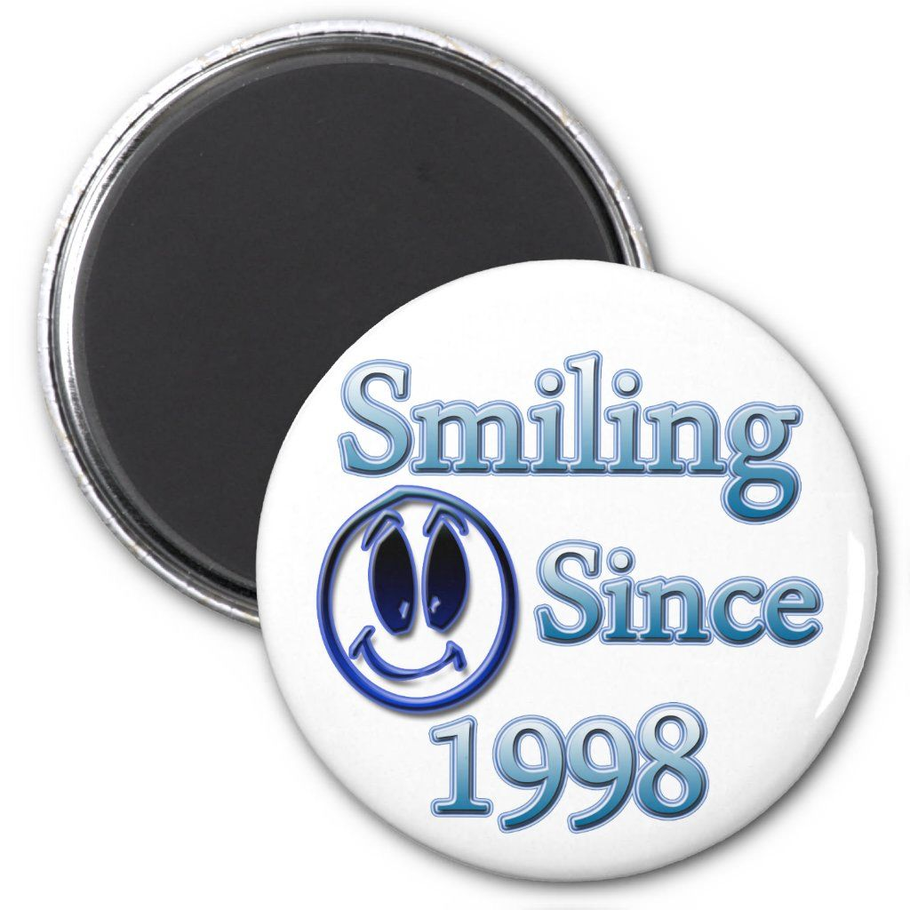 Smiling since 1998 done in blue