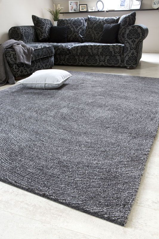Como Charcoal Rug Textured carpet, Silver grey rug
