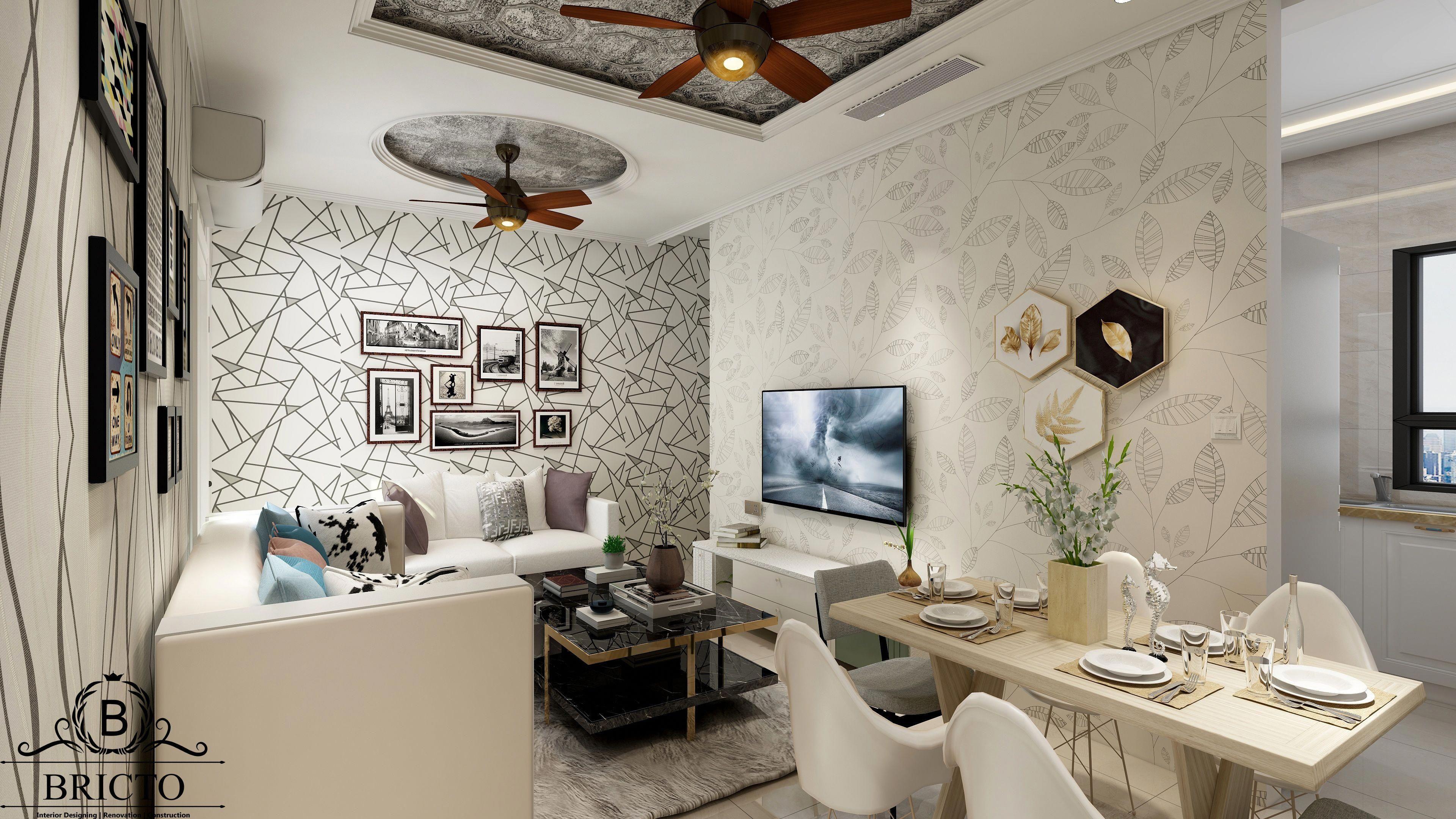 Dining Table Wall Paper False Ceiling Design Tv Cabinet De