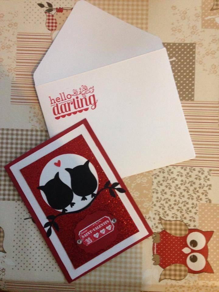 Carte Saint-Valentin fait main - Stampin Up Owl / Hibou