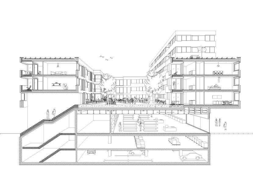 """""""Neubau eines urbanen Wohnblocks mit Handelsflächen"""", München-Riem"""