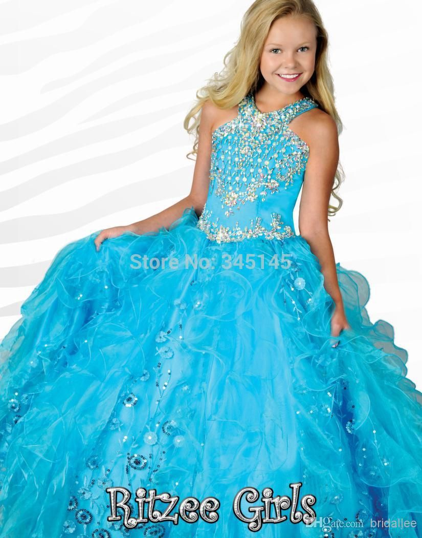 Girls-Pageant-Dresses-Size-12-Halter-Ball-Gowns-Ruffle-Blue-Organza ...