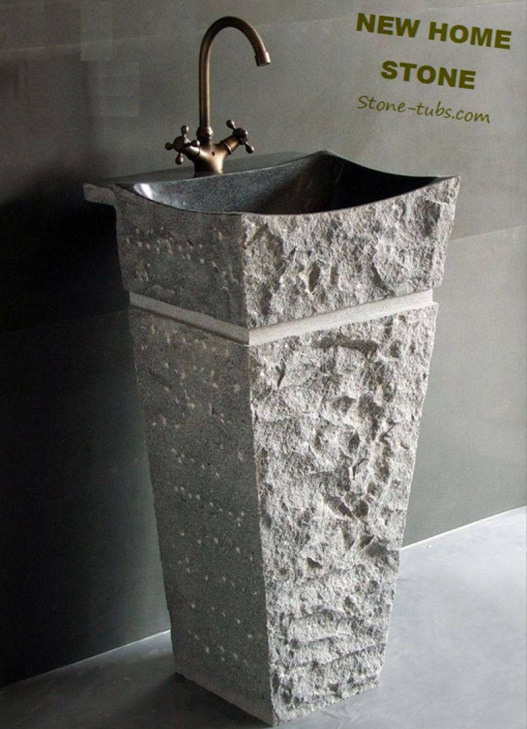 Natural Stone Sink Pedestal Magnificent Granite Stone Pedestal Sink Highly  Polished Interior Basin With Chiseled Pedestal