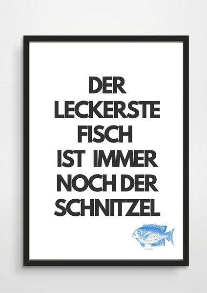 Poster-Typo Print Fisch- Schnitzel Postkarten, Poster und Drucke - lustige sprüche küche