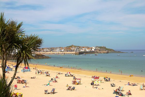 Porthminster Beach With A View Across To St Ives Harbour Cornwall Holidays In Cornwall Uk Beaches England Travel