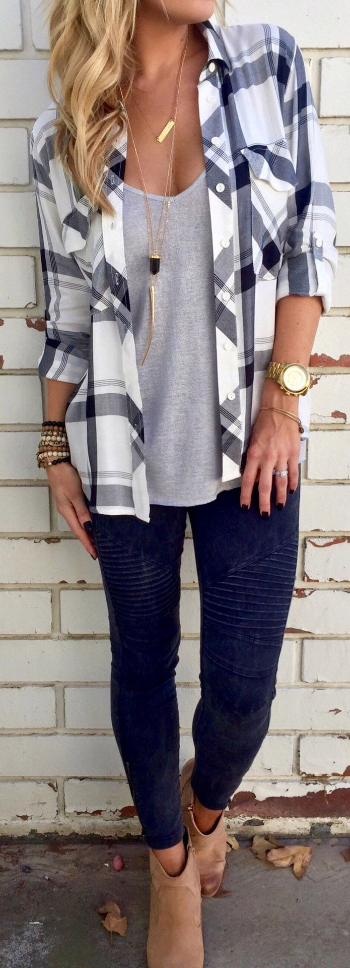 Casual flannel outfits  Plaid Chest Pocket Long Sleeve Shirt  Plaid Navy and Clothes