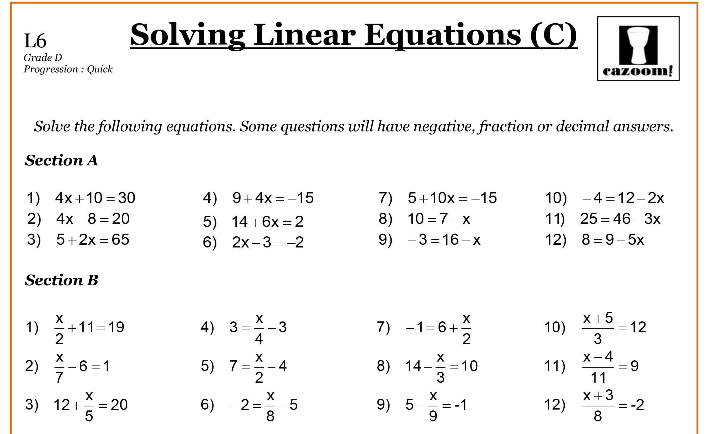 image result for grade 9 math worksheets linear equations worksheet algebra worksheets word. Black Bedroom Furniture Sets. Home Design Ideas