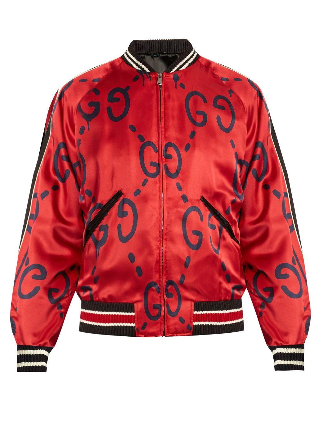 Bomber En Satin A Imprime Guccighost Gucci Matchesfashion Fr Satin Bomber Jacket Mens Flight Jacket Bomber Jacket [ 1392 x 1044 Pixel ]