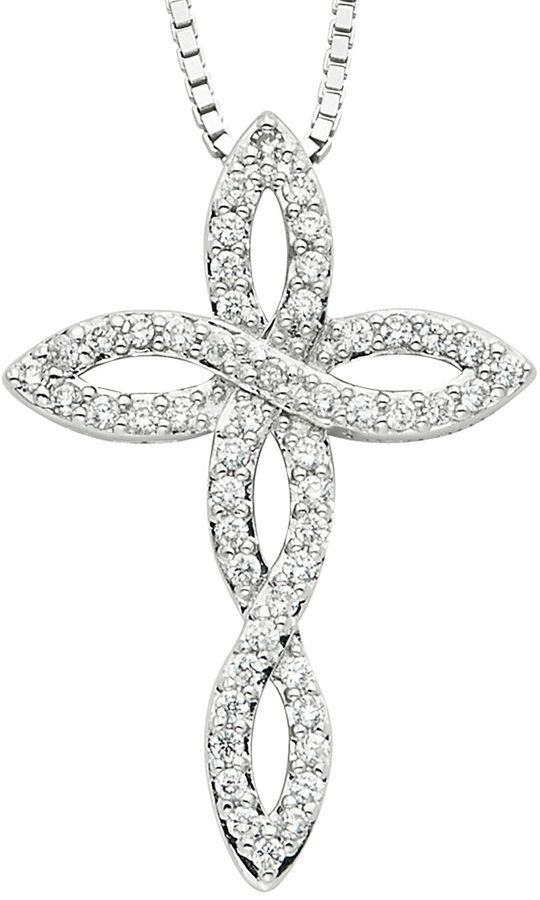 c3279f4fd FINE JEWELRY Diamond Glamour Diamond- and Crystal-Accent Sterling Silver  Twist Cross Pendant Necklace