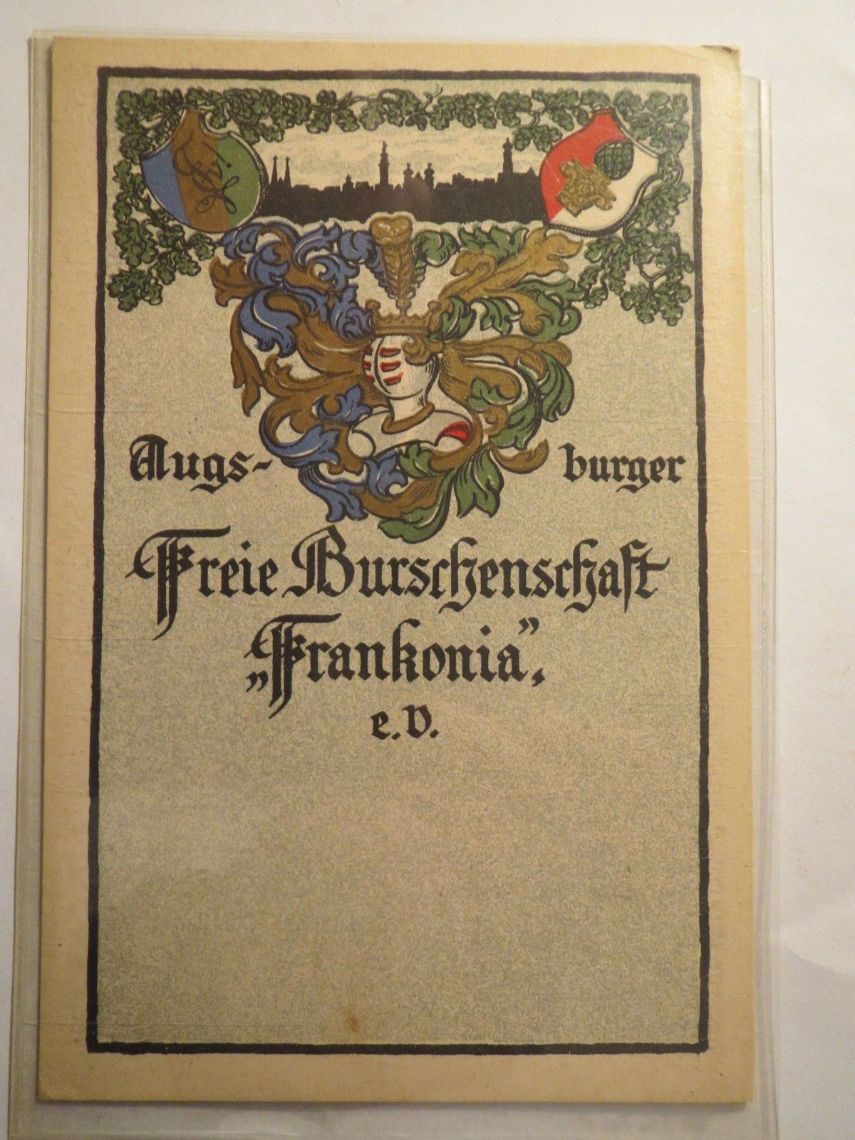 Augsburg Freie Burschenschaft Frankonia Zirkel Farben Studentika
