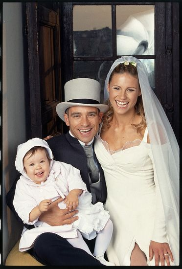 Michelle Hunziker with her first husband Eros Ramazzotti and daughter Aurora