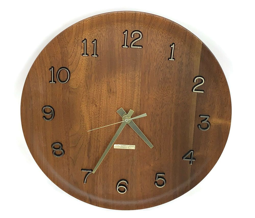 Westclox 46243 Mid Century Nocord Camden Walnut Wood Wall Clock 12 Mint Westclox Wall Clock Wood Wall Clock Mid Century Clock