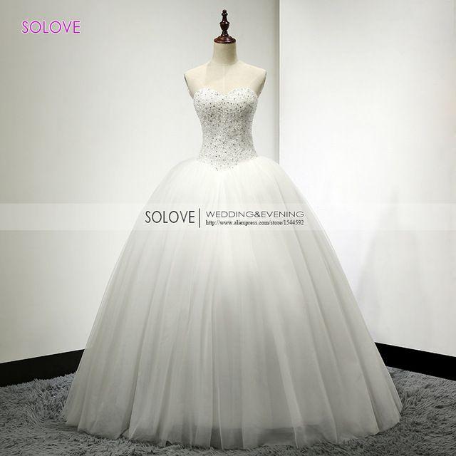 Luxus Weiß Schwere Perlen Prinzessin Hochzeitskleid 2015 Echt Fotos ...
