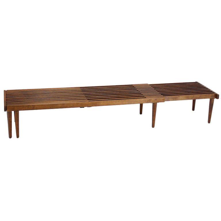 Mid Century Modern Bench: Expandable Danish Mid-Century Modern Slat Bench