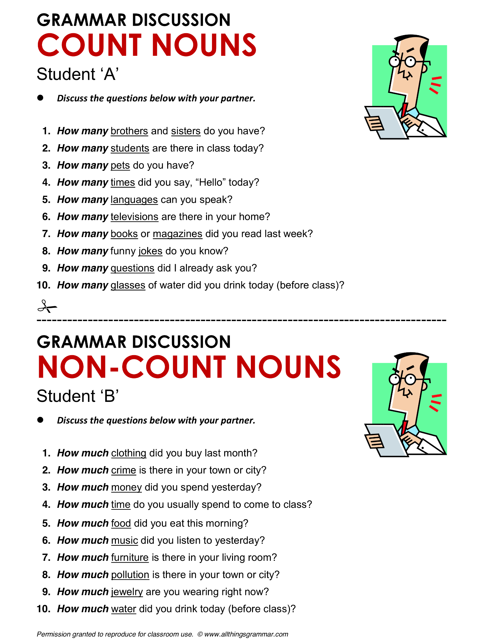 English Grammar Count and Non-Count Nouns www.allthingsgrammar.com ...