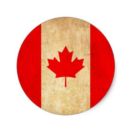 Original vintage patriotic national flag of canada classic round sticker national flag and round stickers