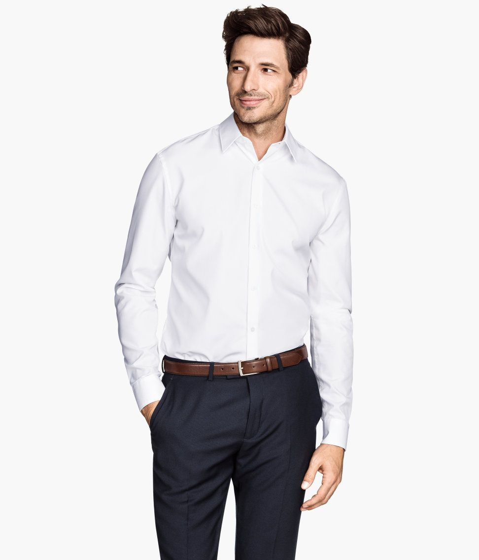 f8ce18f43bf9 White collared long-sleeve shirt in premium cotton