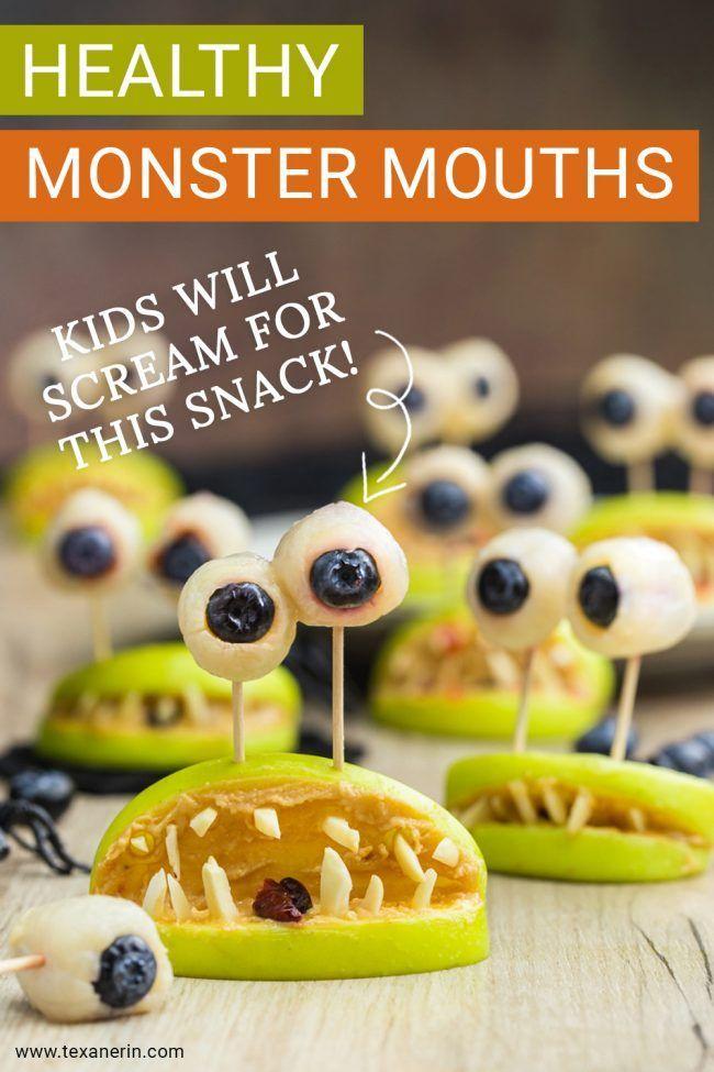 Healthy Halloween Treats - Monster Mouths (paleo, vegan) - Texanerin Baking