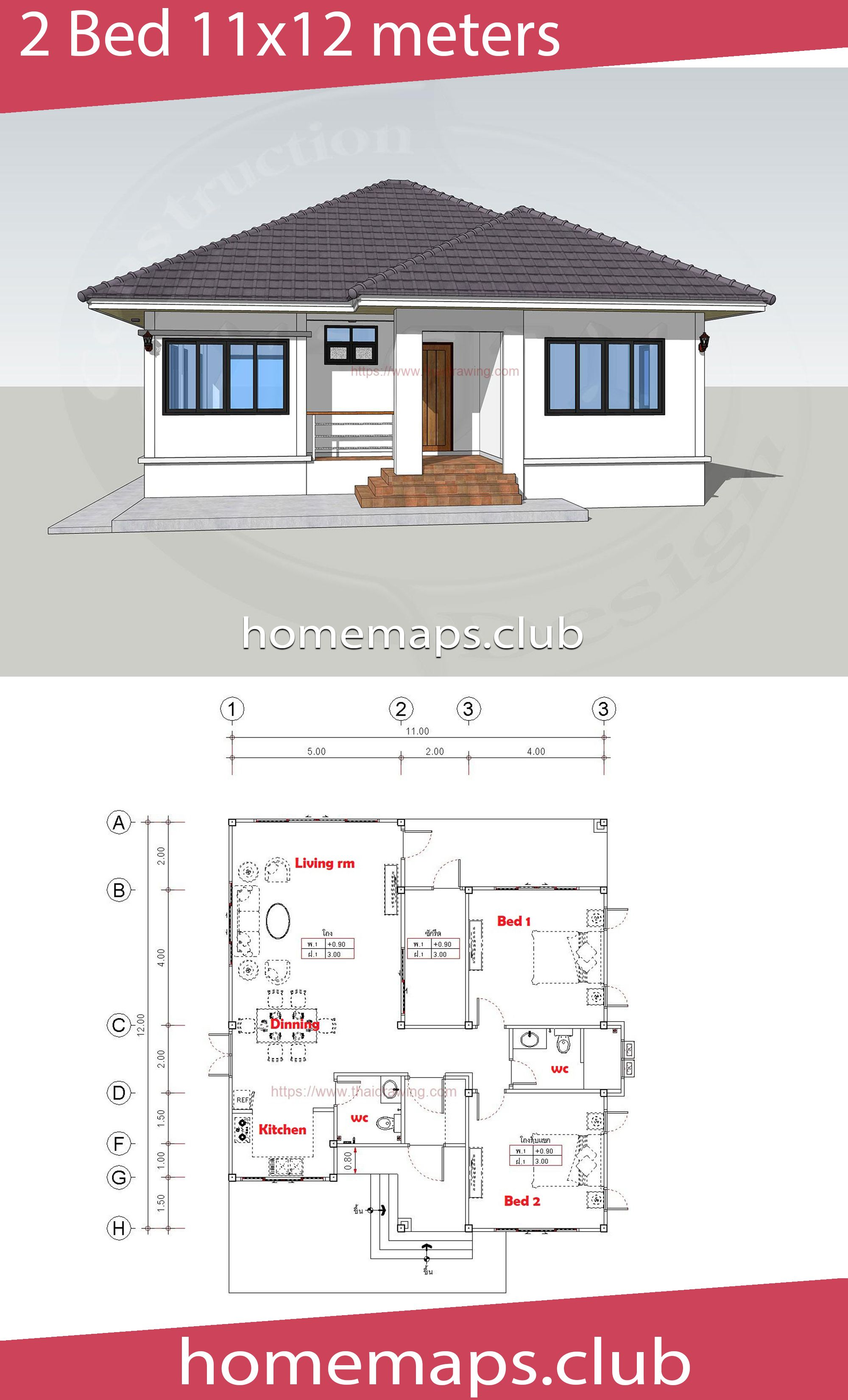 House Design 11x12 With 2 Bedrooms Home Maps House Design House House Plans