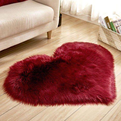 1pc Fluffy Heart Shaped Rug Shaggy Floor Mat Soft
