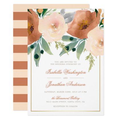 Watercolor Rose | Floral Spring Wedding Invitation - invitations custom unique diy personalize occasions