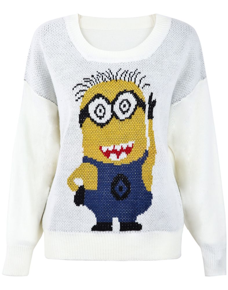 Oh wow my son would so love one of these minion jumpers might shein offers white round neck cartoon minion knitting sweater more to fit your fashionable needs bankloansurffo Images