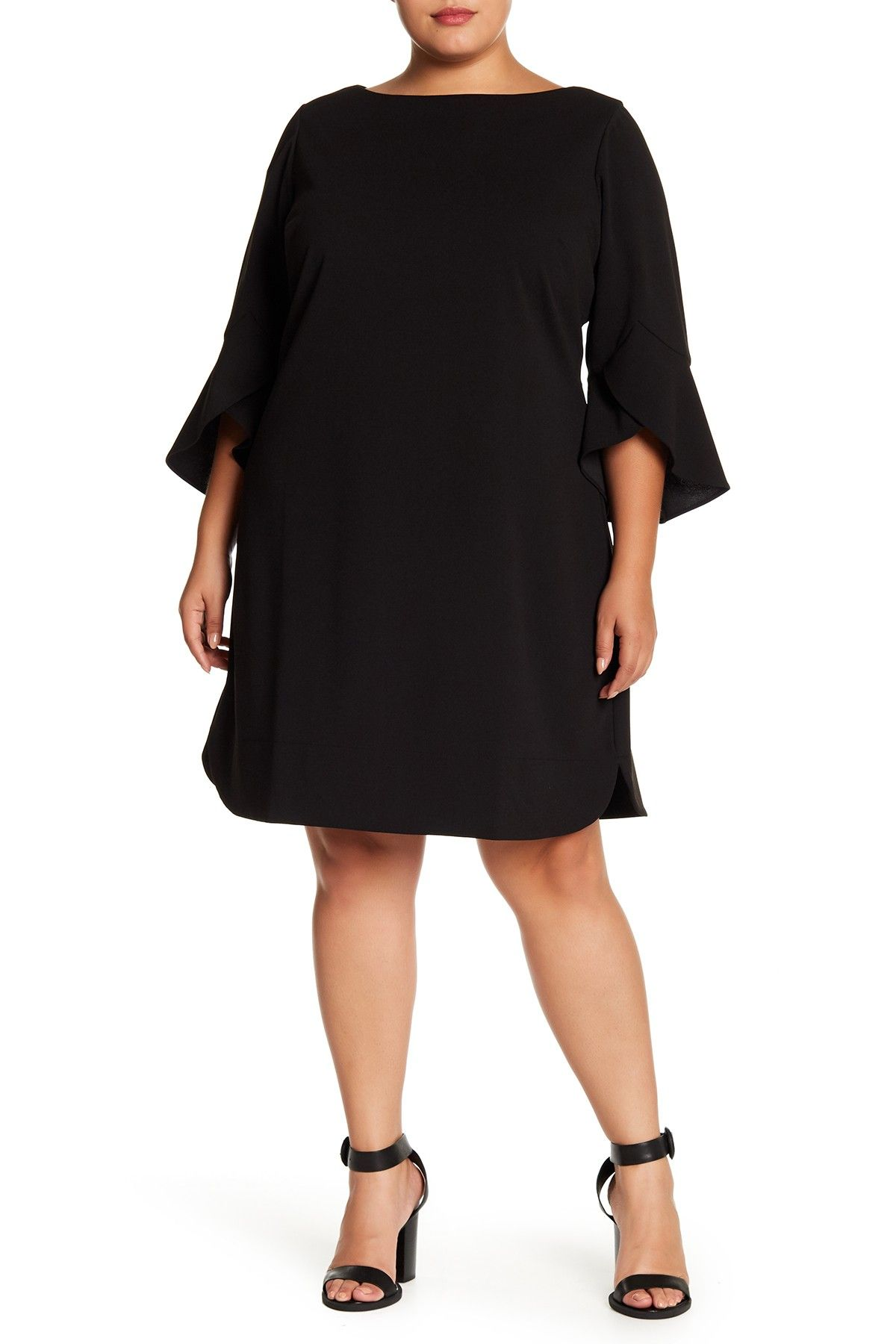 Seamed Solid Ruffle Sleeve Dress (Plus Size) in 2019   My Style ...