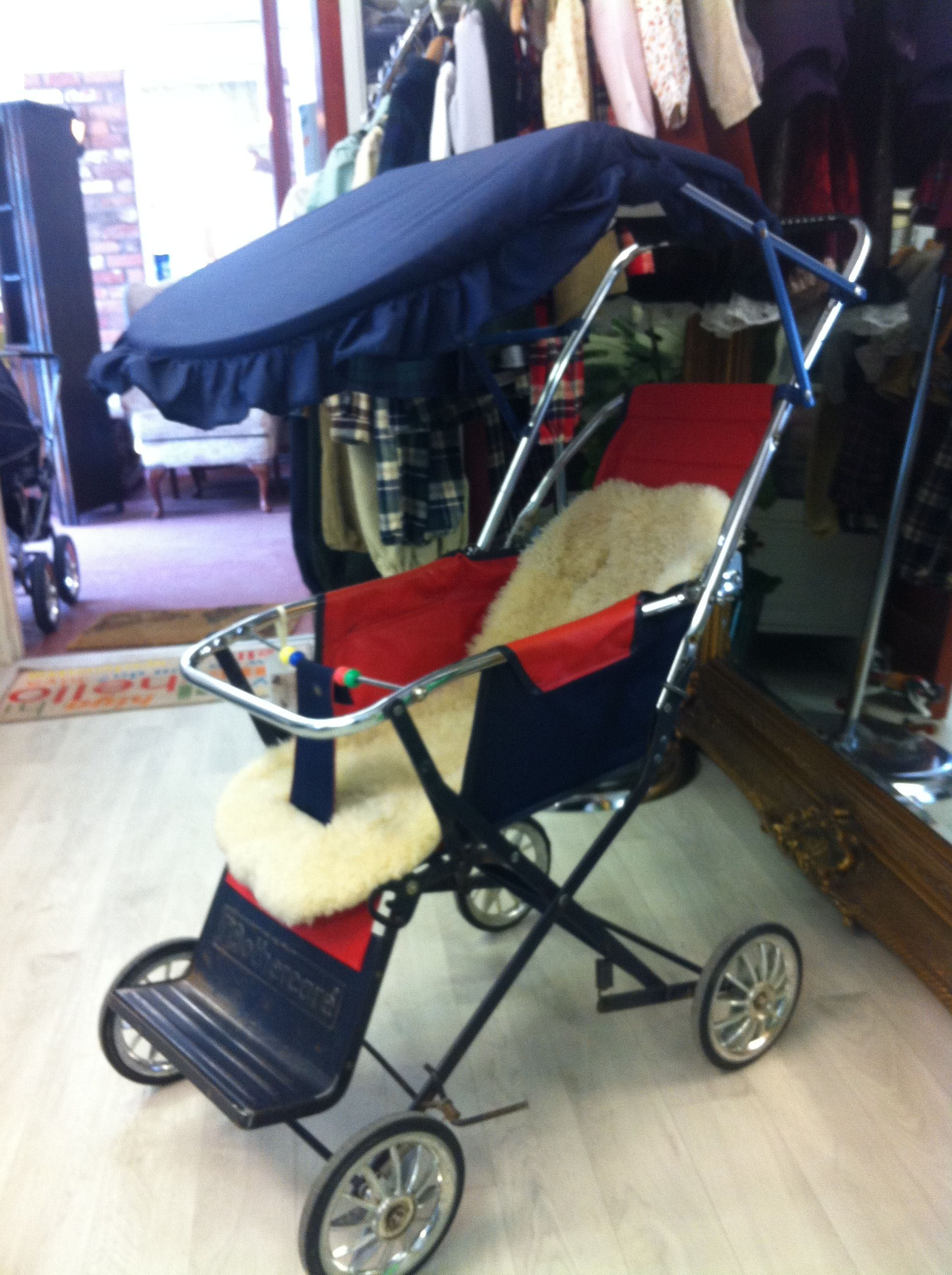 Vintage Mothercare Pushchair in Navy and Red with