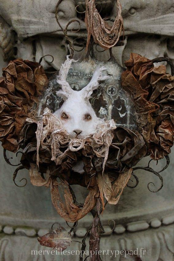 white rabbit, paper mache by Laëtitia Miéral (merveilles en papier ...