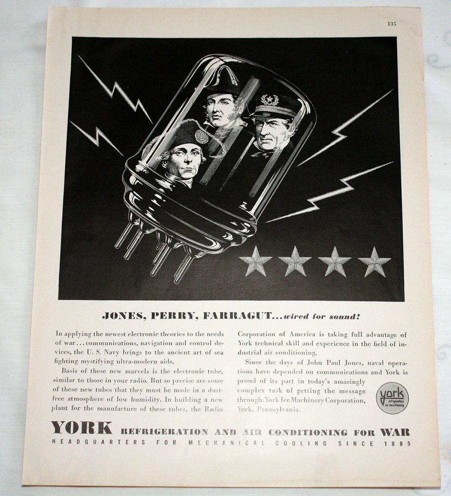 1943 York Refrigeration Air Conditioning Wwii Ad Jones Perry