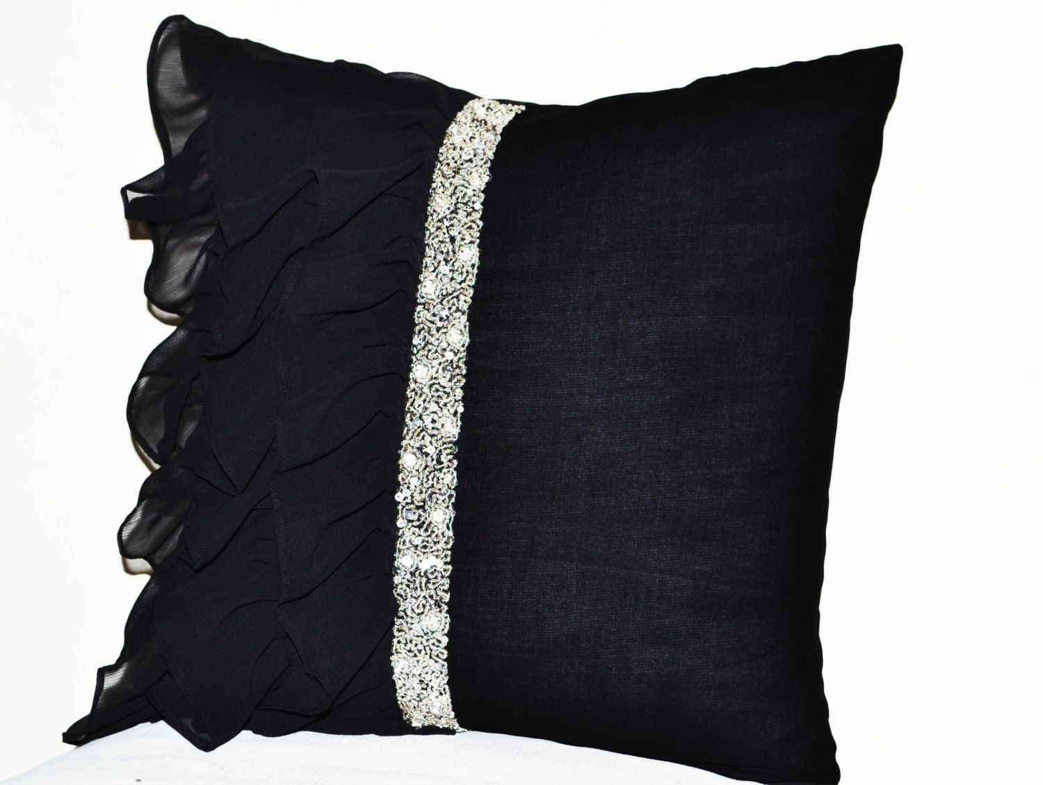 Black ruffled sequin throw pillow -18x18 Decorative Pillow -Black cushion cover -Gift Pillow ...