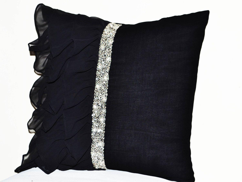 Throw Pillows With Ruffles : Black ruffled sequin throw pillow -18x18 Decorative Pillow -Black cushion cover -Gift Pillow ...