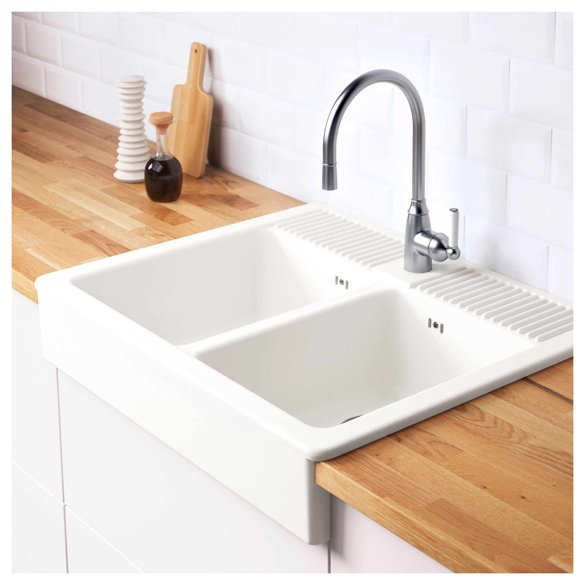 Superbe DOMSJÖ Onset Sink, 2 Bowls White 83x66 Cm   IKEA