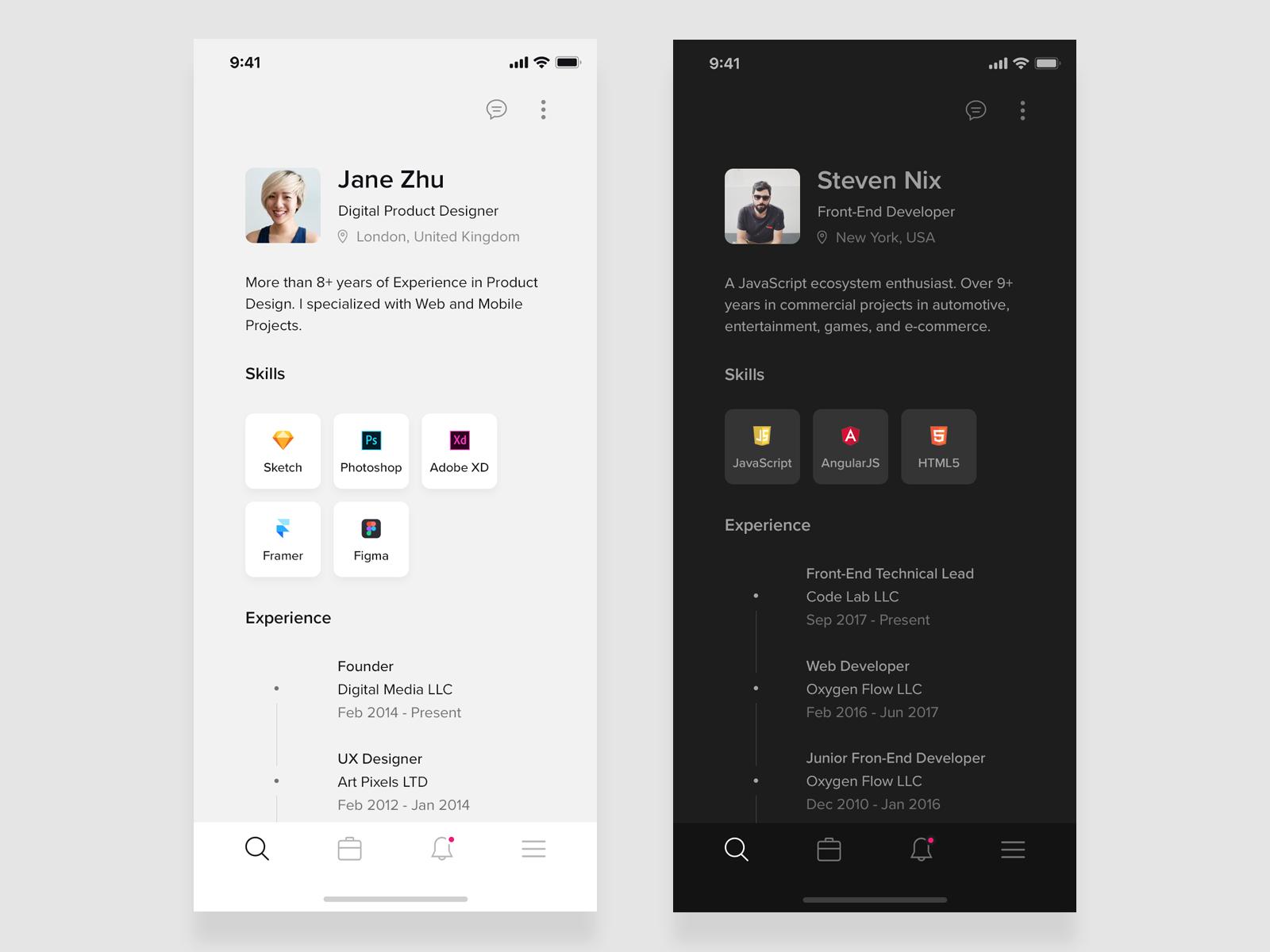 Resume Mobile App For Ios Black White By Robert Licau Mobile App Resume Design Event App