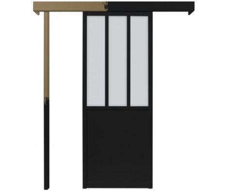 lot porte coulissante atelier noire 83cm - SKYLAB - SKYLAB chez Mr
