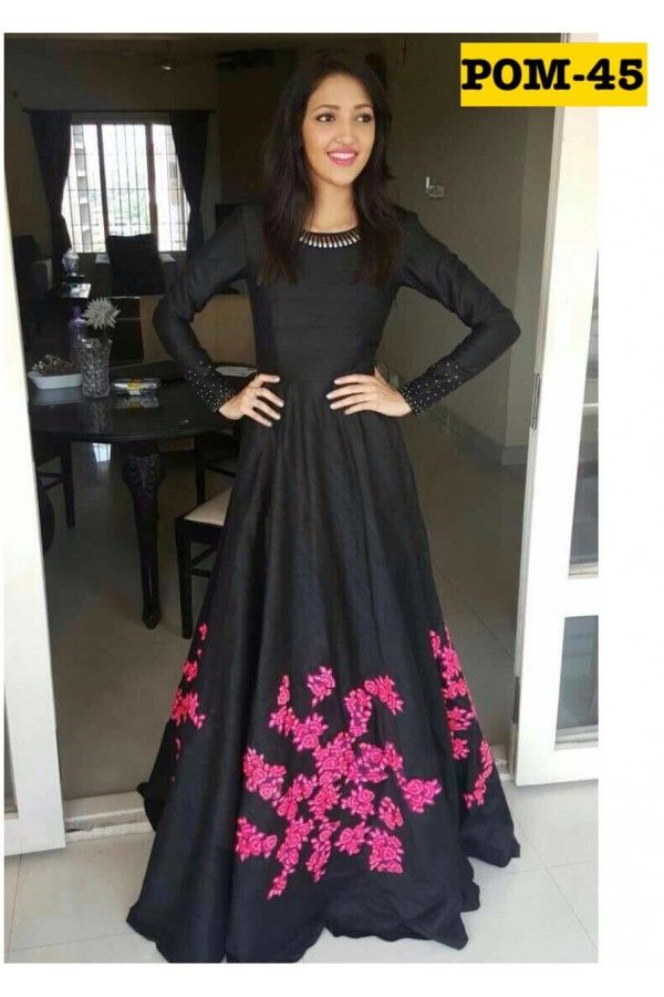 708781e4a2bf Bollywood Style - Party Wear Black   Pink Gown - POM-45